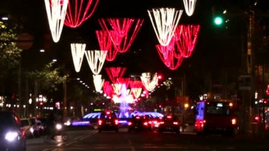 Barcelona Christmas Street Lights Decorations and Traffic — Stock Video