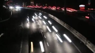 Highway Traffic Cars at Night Time Lapse — Stock Video