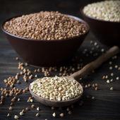 Green and brown buckwheat — Stock Photo