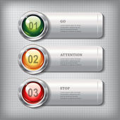 Set of horizontal metallic banners with round shiny buttons — Stock Vector