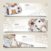 Set of horizontal banners with architectural plan — Stock Vector