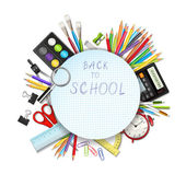 Back to school background with supplies tools — Stock Vector