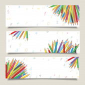 Set of horizontal banners with colorful pencils — ストックベクタ