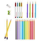 Set of coloured pens and pencils — Stock Vector