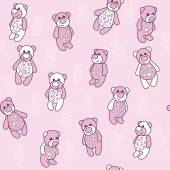 Seamless background with teddy bears in pink — Stock Vector