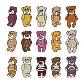 Set of cute teddy bears. — Vector de stock