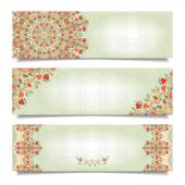 Set of horizontal banners with floral delicate ornament — Stock Vector