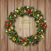 Realistic Christmas wreath on wood background — Stock Vector