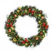 Realistic Christmas wreath isolated от white background — Stock Vector