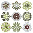 Vector set of nine floral circular design elements isolated on w — Stock Vector #60265809