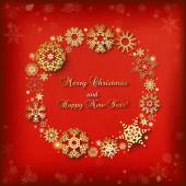 Christmas background with round frame of golden snowflakes — Stockvektor