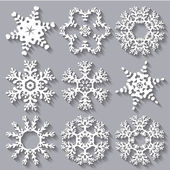 Snowflakes flat icon set collection — Vector de stock