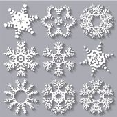 Snowflakes flat icon set collection — Stockvektor