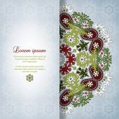 Vector card with round floral pattern. — Stock Vector