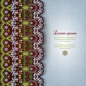 Поздравительная открытка с кружевом и цветочным тонким украшением — Cтоковый вектор