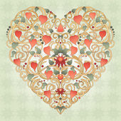 Heart silhouette created by floral ornament. — Stock vektor