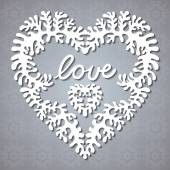 """Greeting card with lacy heart and lettering """"love"""". — Stock Vector"""