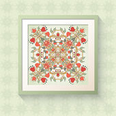 3D picture frame with floral symmetrical element — Stock vektor