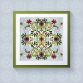 3D picture frame with floral symmetrical element — Stockvektor