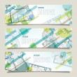 Set of horizontal banners with parts of detailed architectural p — Stock Vector #64458437