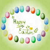 Easter card with watercolor colorful eggs and lettering. — Stock vektor