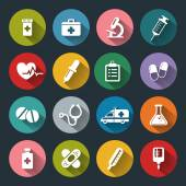 Set of vector Medical Icons in flat style with long shadows — Stock Vector