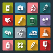 Set of vector Medical Icons in flat style with long shadows — Stockvektor