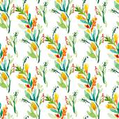 Seamless vector pattern with watercolor floral elements — Διανυσματικό Αρχείο