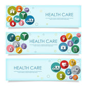 Set of horizontal  banners with vector Medical Icons in flat sty — Stock Vector