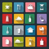 Iconos planos cocina con larga sombra — Vector de stock