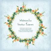 Vector round frame with watercolor  flowers. — Stock Vector