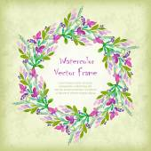 Vector round frame with watercolor  flowers. — Vector de stock