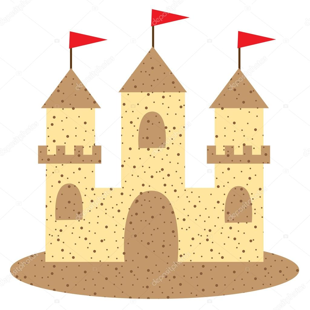 Cartoon sand castle with flags — Stock Vector © scrapster ...