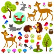 Woodland animals clip art — Vecteur #63491425