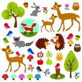Woodland animals clip art — Vettoriale Stock