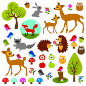 Woodland animals clip art — Vecteur