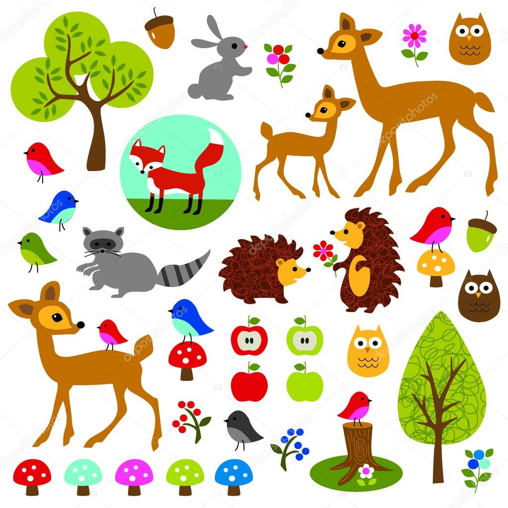 Woodland animals clip art — Stock Vector © scrapster #63491425