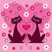 Valentijn katten — Stockvector