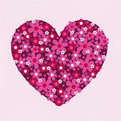 Bloemrijke hart op kant — Stockvector