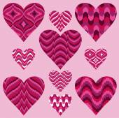 Pink patterned Hearts — Stock Vector
