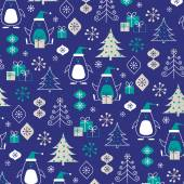 Penguins winter  pattern — Stok Vektör