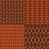 Orange and black damask patterns — Stock Vector