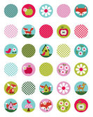 Background cute animals and fruits — Stock Vector