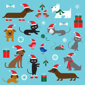 Christmas Cats and Dogs — Stock Vector