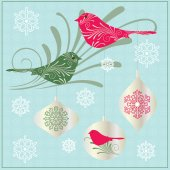 Birds and winter ornaments — Stock Vector