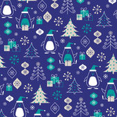 Penguins winter  pattern — Stock Vector