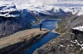Hiker on Trolltunga, Norway — Stock Photo