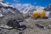 Basecamp on glacier in Kyrgyzstan — Stock Photo