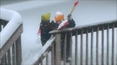 Kids Playing In Snow — Stock Video