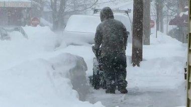 Man Uses Snowblower — Stock Video